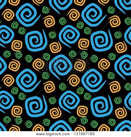 Seamless pattern colorful curlicues on black background