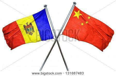 Moldova flag  combined with china flag
