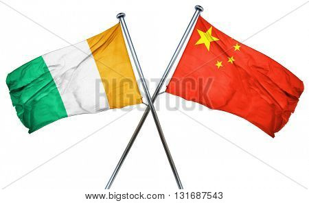 Ivory coast flag  combined with china flag