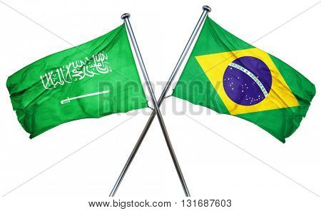 Saudi Arabia flag  combined with brazil flag