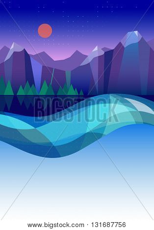 Vector geometry illustration of mountains, lake and forest