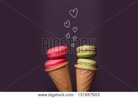 Macaron In Ice Cream Cone