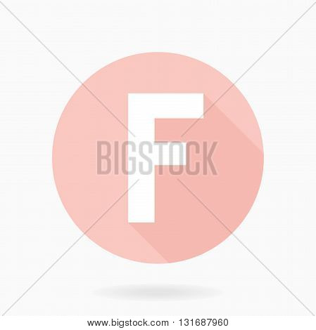 Fine vector letter F in the circle. Flat design and long shadow. Light pink and white colors