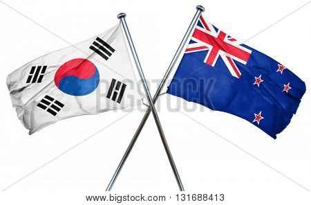 South korea flag  combined with new zealand flag