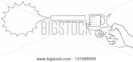 Illustration with the contour of a female hand with a gun with bubble shot for your creativity