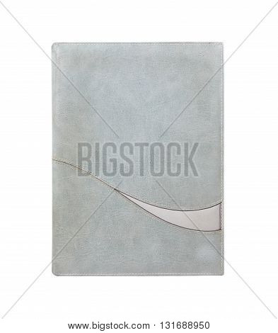 Green old leather notebook isolated on white background