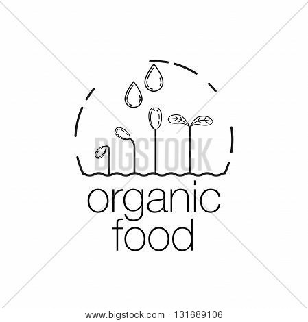 Organic food outline icon for food and drink, restaurants and organic products. Organic food stamp with sprouts and drops water. Line art Vector illustration isolated on wight background