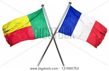 Benin flag  combined with france flag