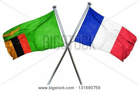 Zambia flag  combined with france flag