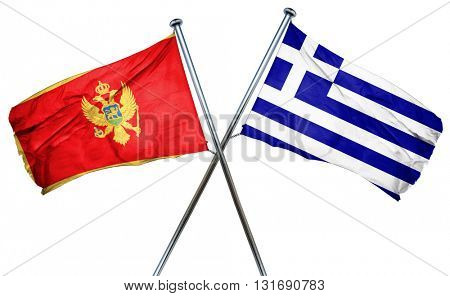 Montenegro flag  combined with greek flag