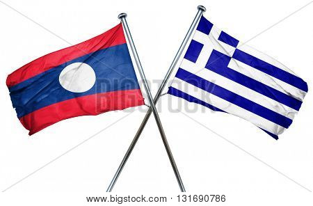 Laos flag  combined with greek flag