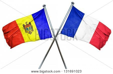 Moldova flag  combined with france flag