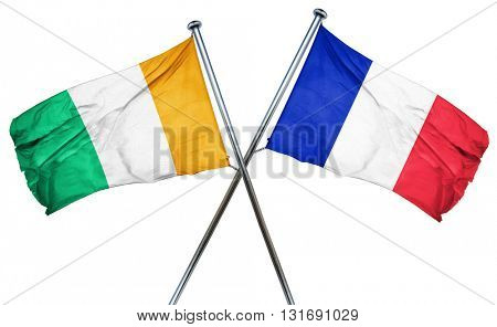 Ivory coast flag  combined with france flag