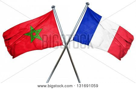 Morocco flag  combined with france flag