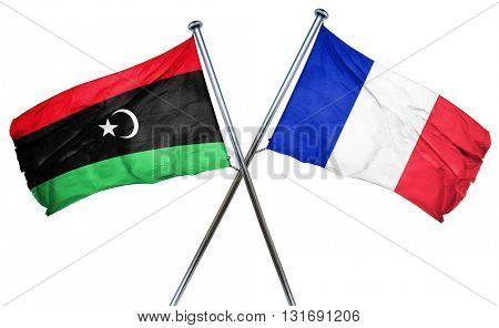 Libya flag  combined with france flag