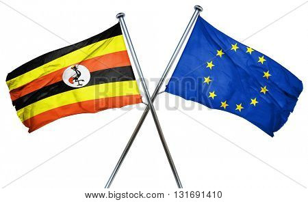 Uganda flag  combined with european union flag