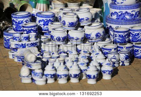 Colorful ceramic pots in dalat market , vietnam