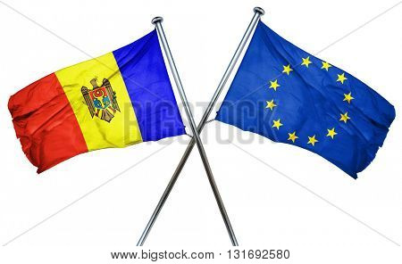 Moldova flag  combined with european union flag