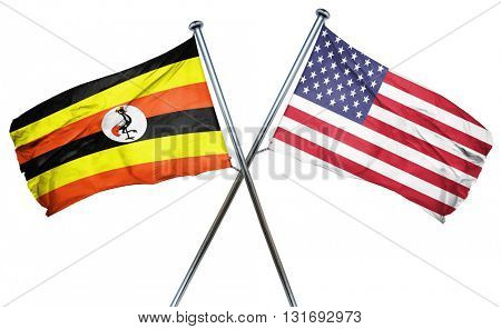 Uganda flag with american flag, isolated on white background