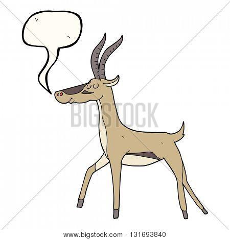 freehand drawn speech bubble cartoon gazelle