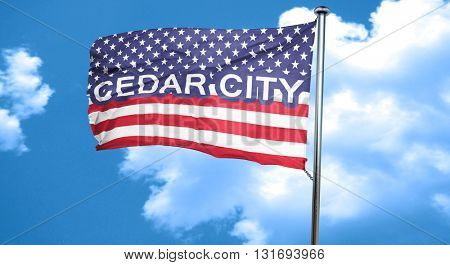 cedar city, 3D rendering, city flag with stars and stripes