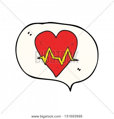 freehand drawn speech bubble cartoon heart rate pulse symbol