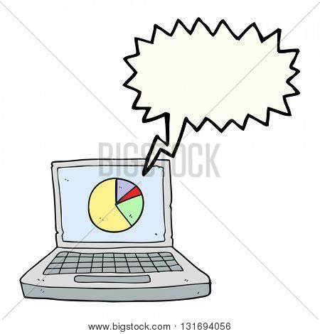 freehand drawn speech bubble cartoon laptop computer with pie chart