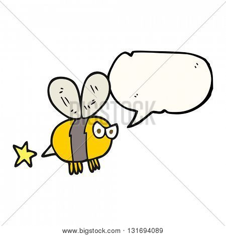 freehand drawn speech bubble cartoon angry bee