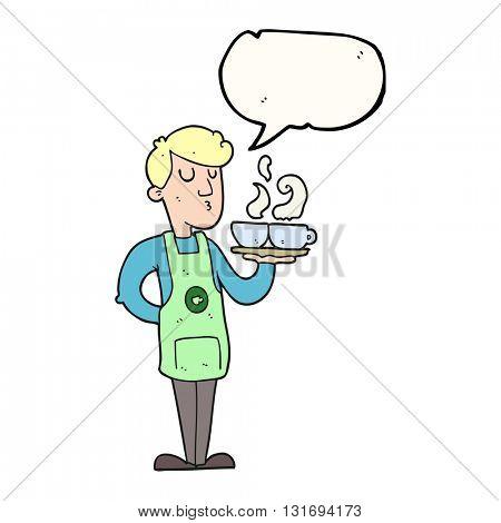 freehand drawn speech bubble cartoon barista serving coffee