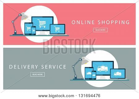Set of flat design concepts of Online shopping and Delivery service. Banners for web design, marketing and promotion. Presentation templates. Vector illustration.