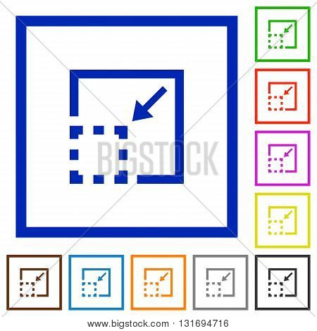 Set of color square framed minimize element flat icons