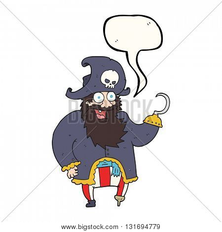 freehand drawn speech bubble cartoon pirate captain