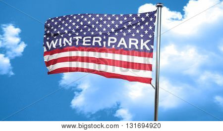 winter park, 3D rendering, city flag with stars and stripes
