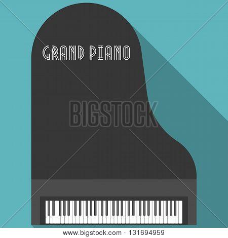 Grand piano vector, flat design seamless background