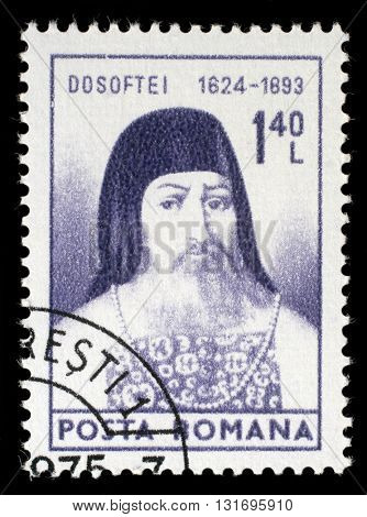 ZAGREB, CROATIA - JULY 18: A stamp printed in Romania shows Mitropolit Dosoftel, circa 1974, on July 18, 2014, Zagreb, Croatia