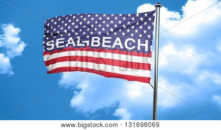 seal beach, 3D rendering, city flag with stars and stripes