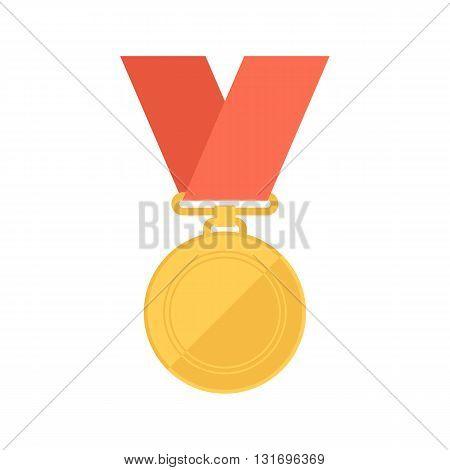 Gold medal. Winner reward. Flat design vector illustration.