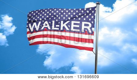 walker, 3D rendering, city flag with stars and stripes