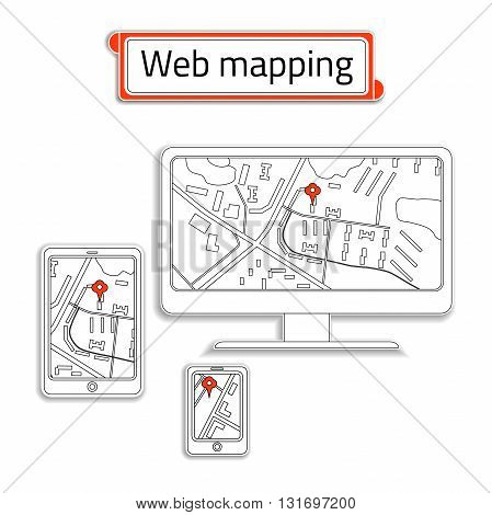 Mobile Phone, computer (PC) and tablet with Internet map. Title web mapping inside the red box. Mobile Phone with GPS Navigation App. Gadgets in paper style. Vector illustration