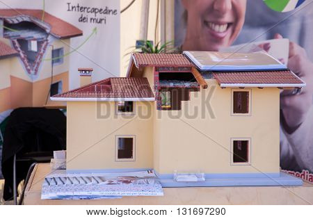 TRIESTE, ITALY - MAY, 15: View of house model used how example for new construction on May 15, 2016
