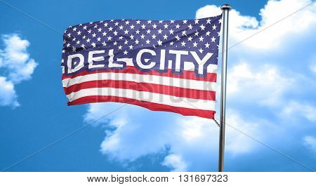del city, 3D rendering, city flag with stars and stripes