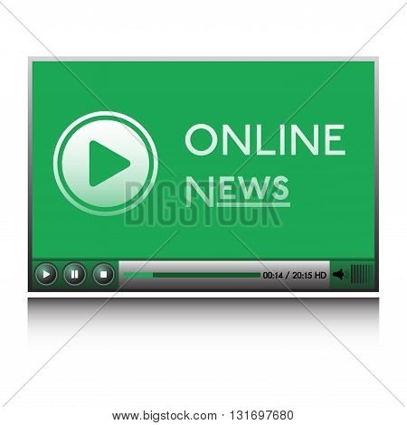 Isolated green player with play sign and the text online news written on its screen