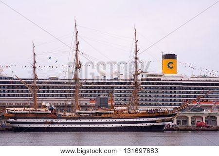 TRIESTE ITALY - MAY 15: View of the tall ship Amerigo Vespucci docked in Trieste on May 15 2016
