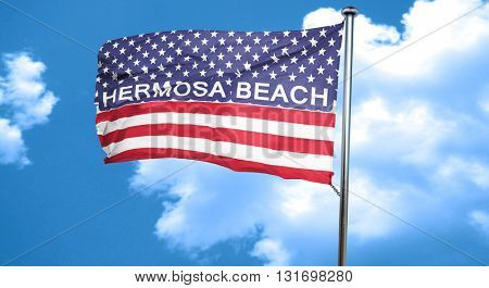 hermosa beach, 3D rendering, city flag with stars and stripes