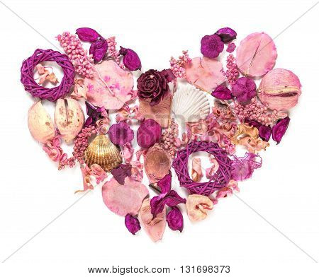 Dried Flowers Arranged To Form A Heart.
