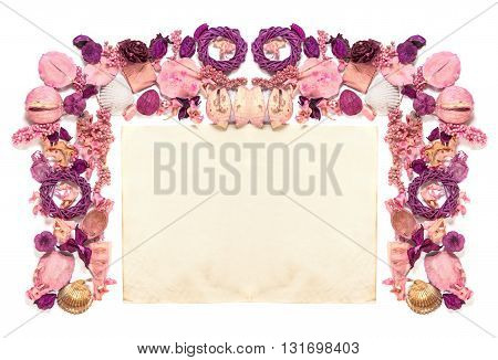 Frame With  Dried Flowers Old Paper  Isolated On White Background.