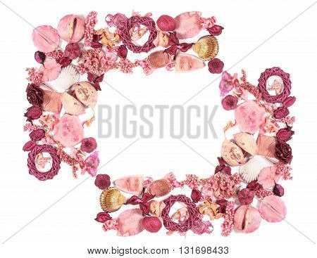 Frame With Dried Flowers Isolated On White Background.