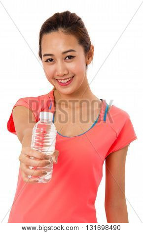 Happy smiling asian woman in fitness wear with bottle of water on white background.
