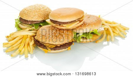 The different hamburgers and french fries isolated on white background.