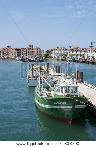 Fishing Boats In Saint-jean De Luz - Ciboure Harbour. Aquitaine, France.